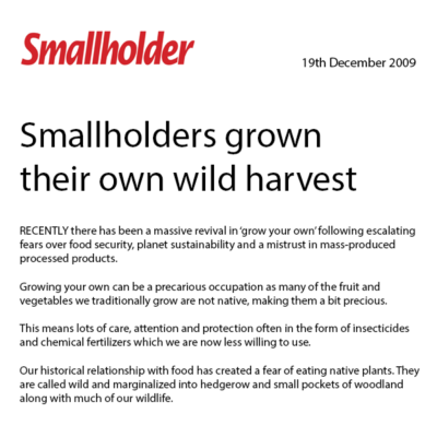 Smallholders Magazine GROW YOUR OWN HARVEST, Dec 2009