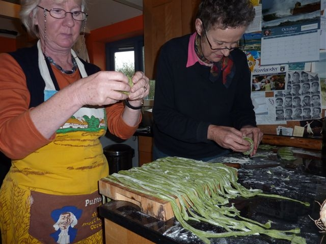 Making nettle pesto on a foraging course