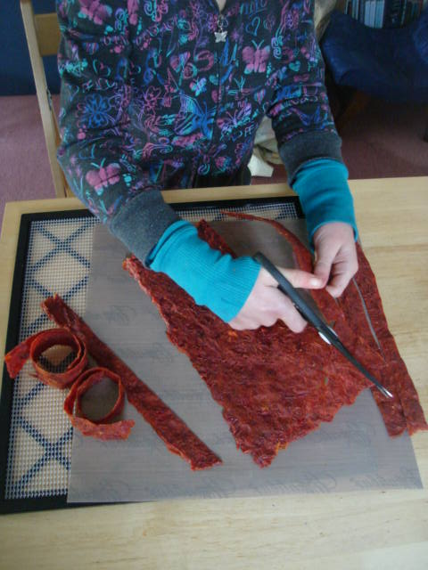 Cutting dried wild rosehip fruit leather to store