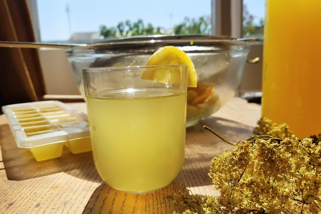Glass of elderflower cordial