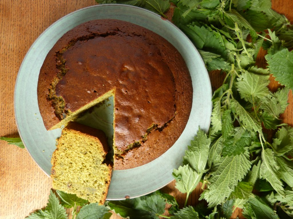Image of nettle and honey cake with fresh nettles around it