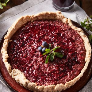 Homemade sloe tart made with foraged ingredients