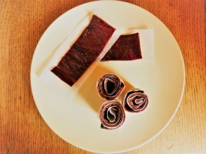 Hawthorn Fruit Leather cut into strips