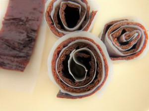 Hawthorn Fruit Leather, cut and wrapped