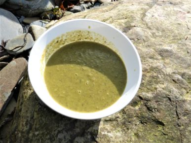 Bowl of hot sea spinach soup, on the beach