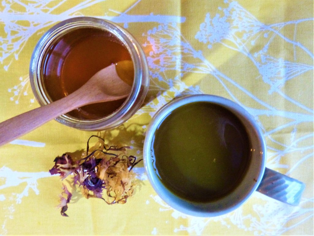 Mug of diluted Carrageen syrup, with honey
