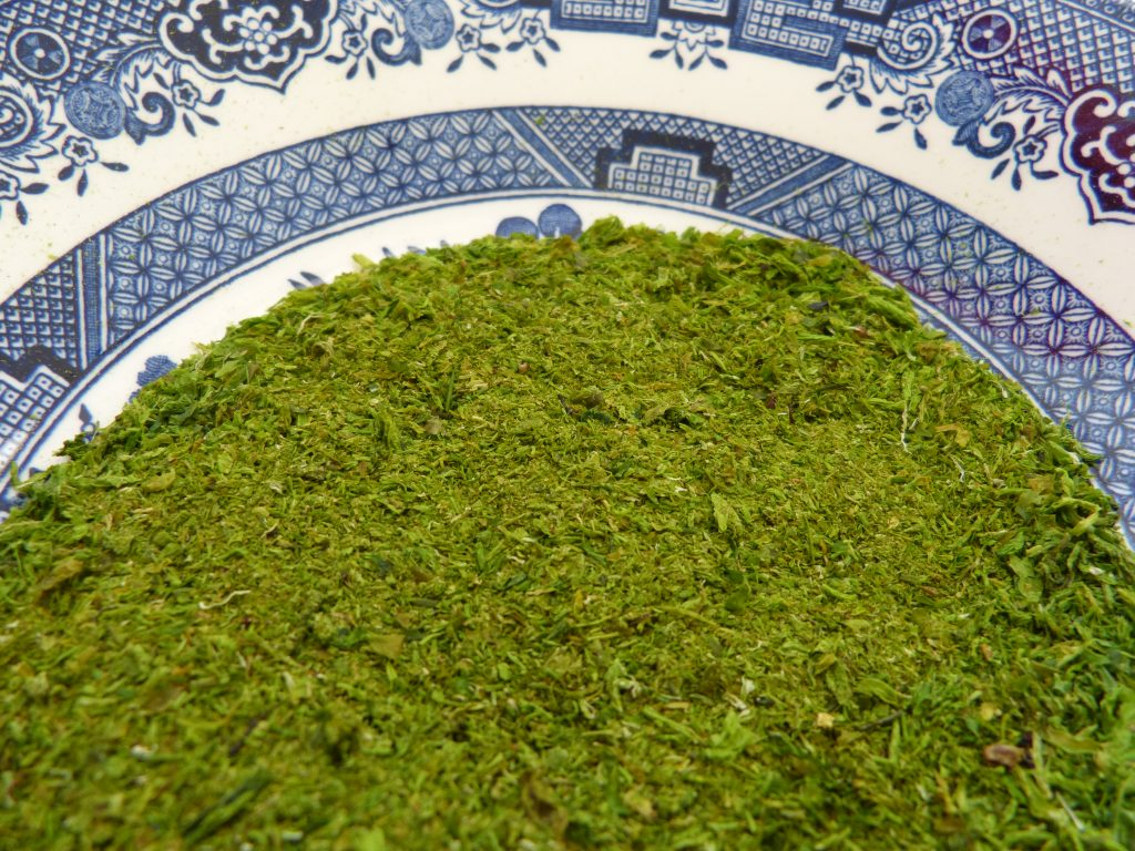 Dried seaweed known as sea greens
