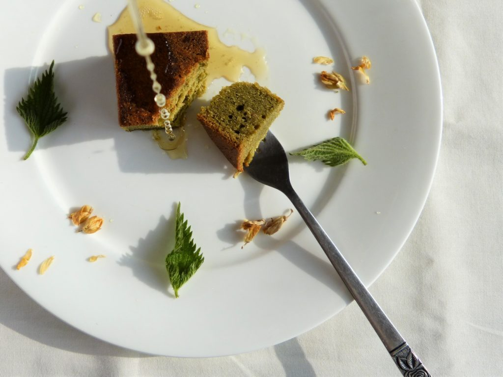 A square of freshly baked nettle and honey cake drizzled with gorse flower syrup