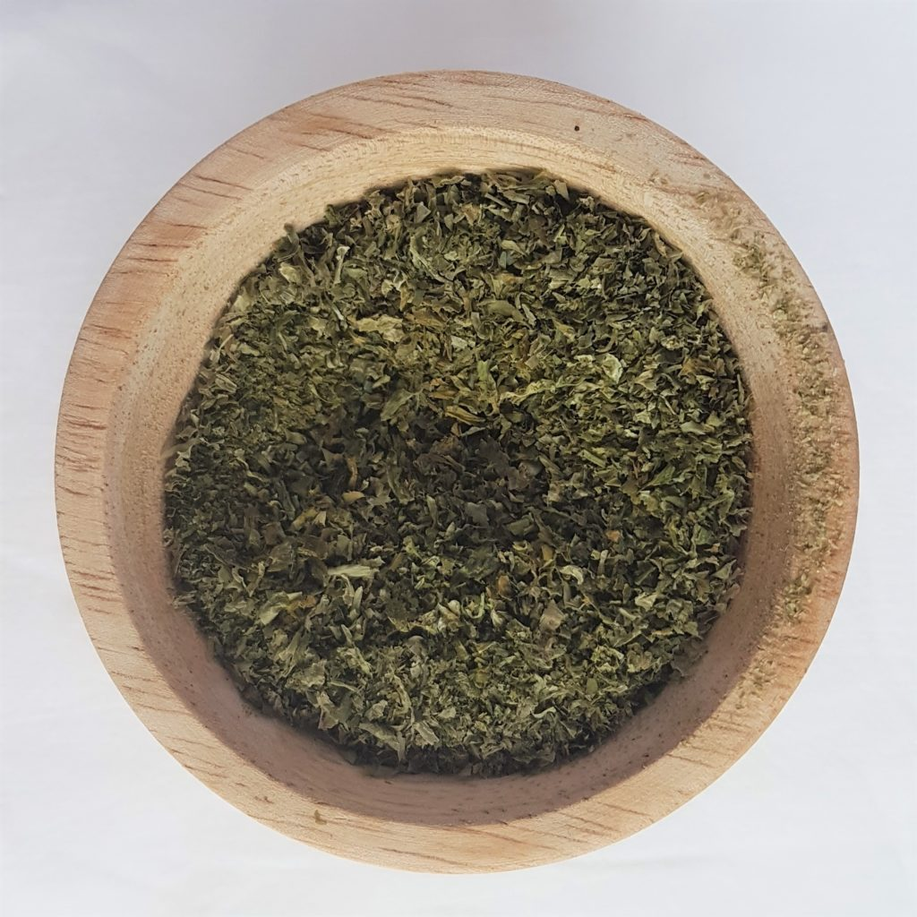 Dish of ground seaweed