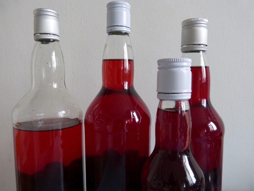 Bottles of sloe gin