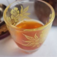 Hawthorn Schnapps in a shot glass