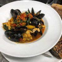 Mussels with wild greens