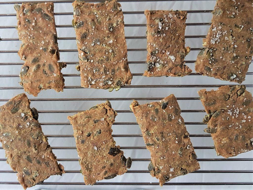 Seaweed crispbreads freshly baked