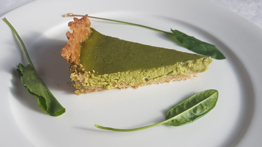 Sorrel tart with wild leaves picked on a foraging course in Cornwall