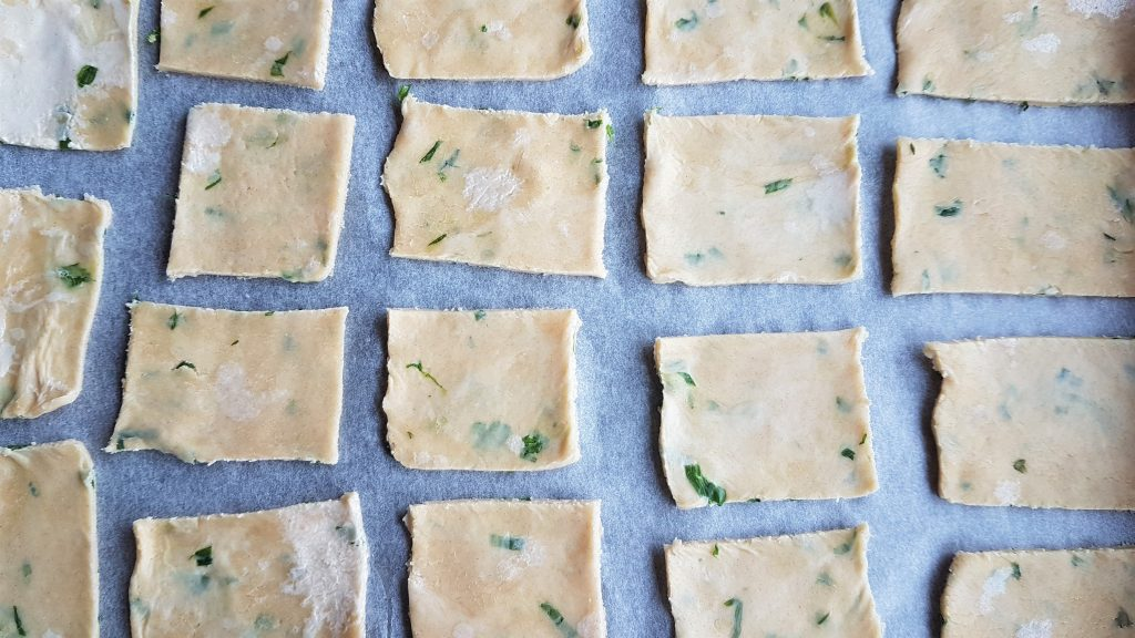 homemade water biscuits - cut and ready to bake