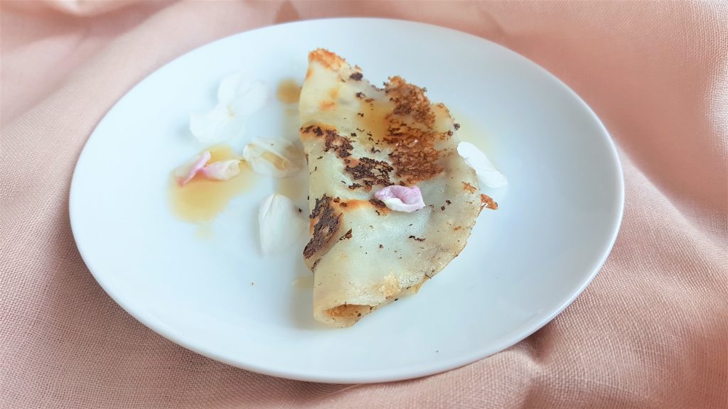 Rice pancake with cherry blossom syrup