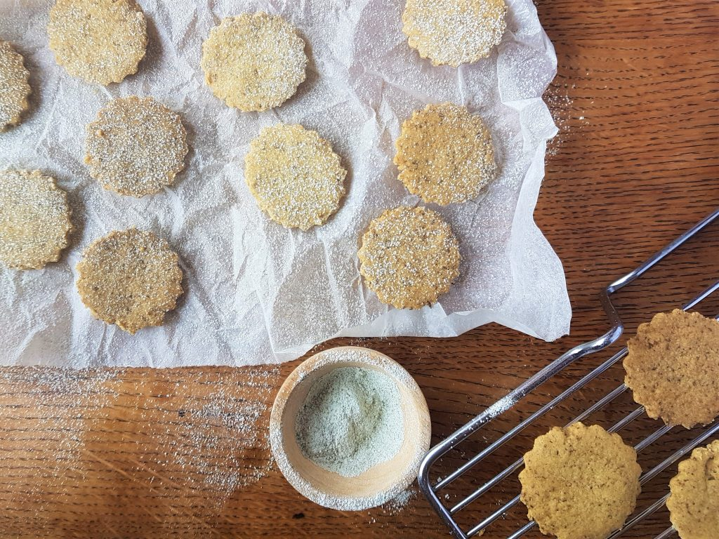 Making vegan spring shortbread biscuits