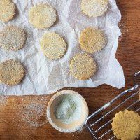 Making vegan spring shortbread biscuits