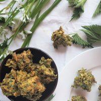 Bowl of freshly made wild green pakoras