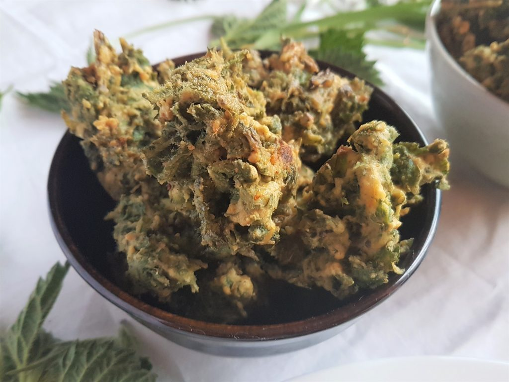 Bowl of homemade nettle pakoras
