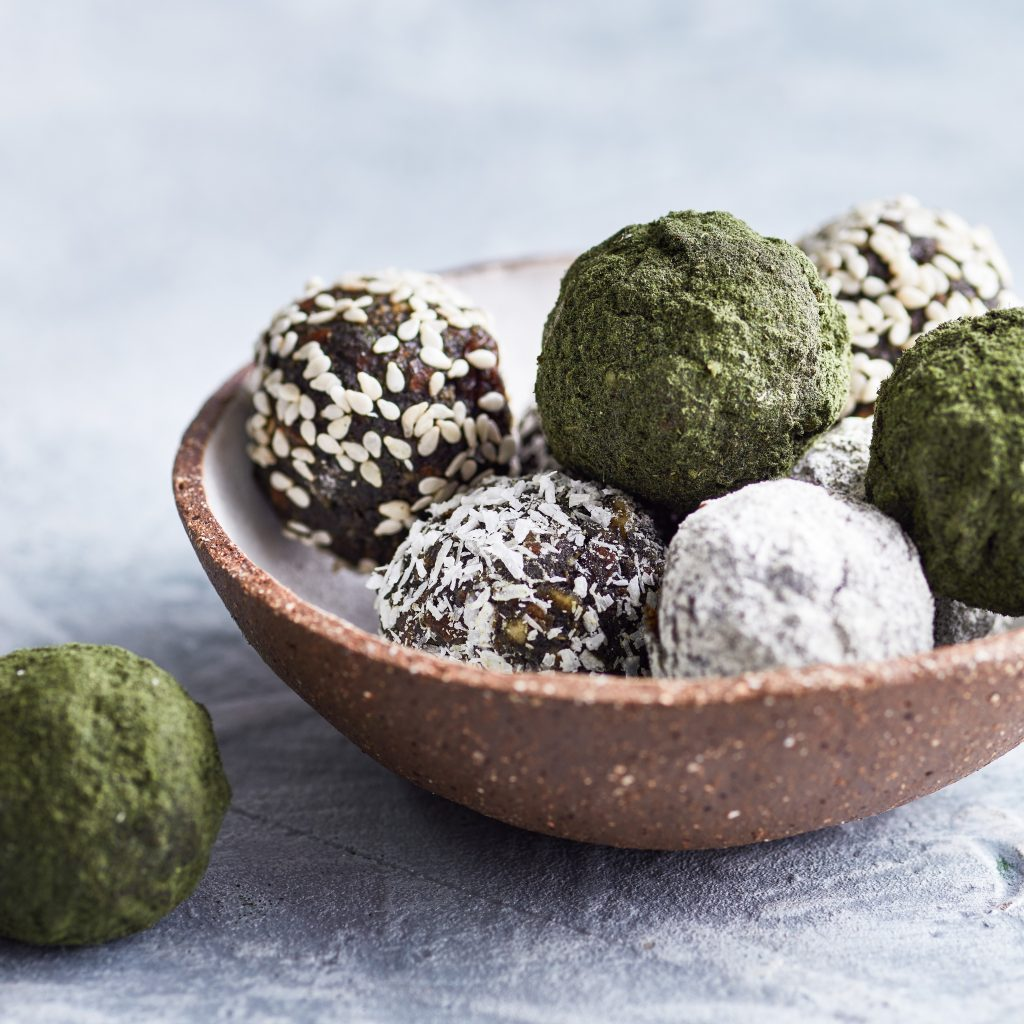 Bowl of freshly made wild nettle energy balls