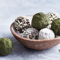 Bowl of freshly made wild nettle energy balls