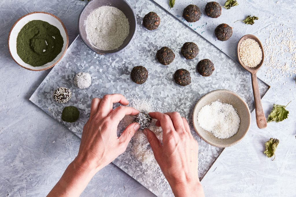 Making nettle energy balls