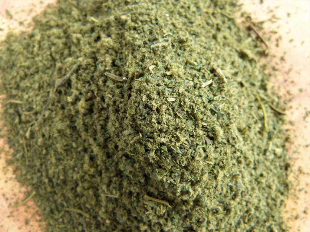Freshly made, homemade nettle powder