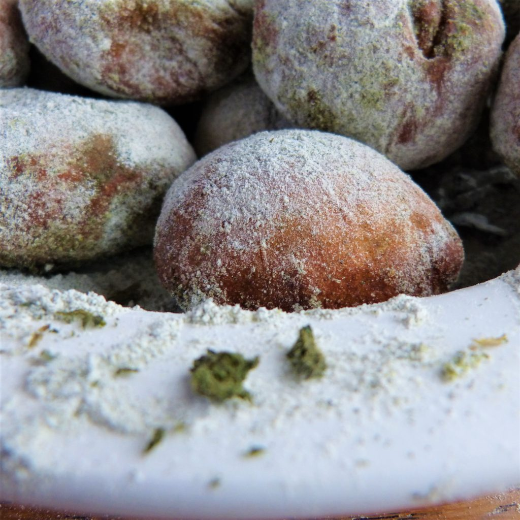 Bowl of nettle sugared doughnuts