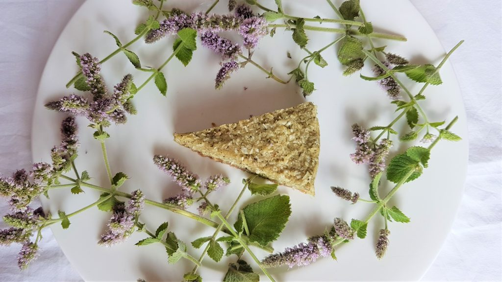 Slice of mint and coconut fridge cake surrounded by mint flowers