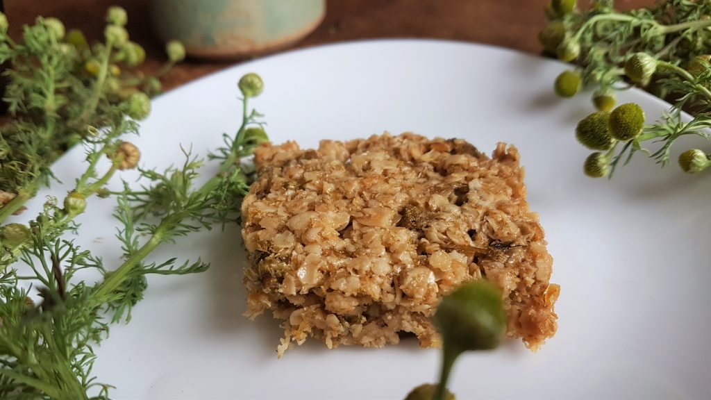 Square of pineapple weed flapjack