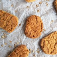Crumbly hogweed seed biscuits on baking paper