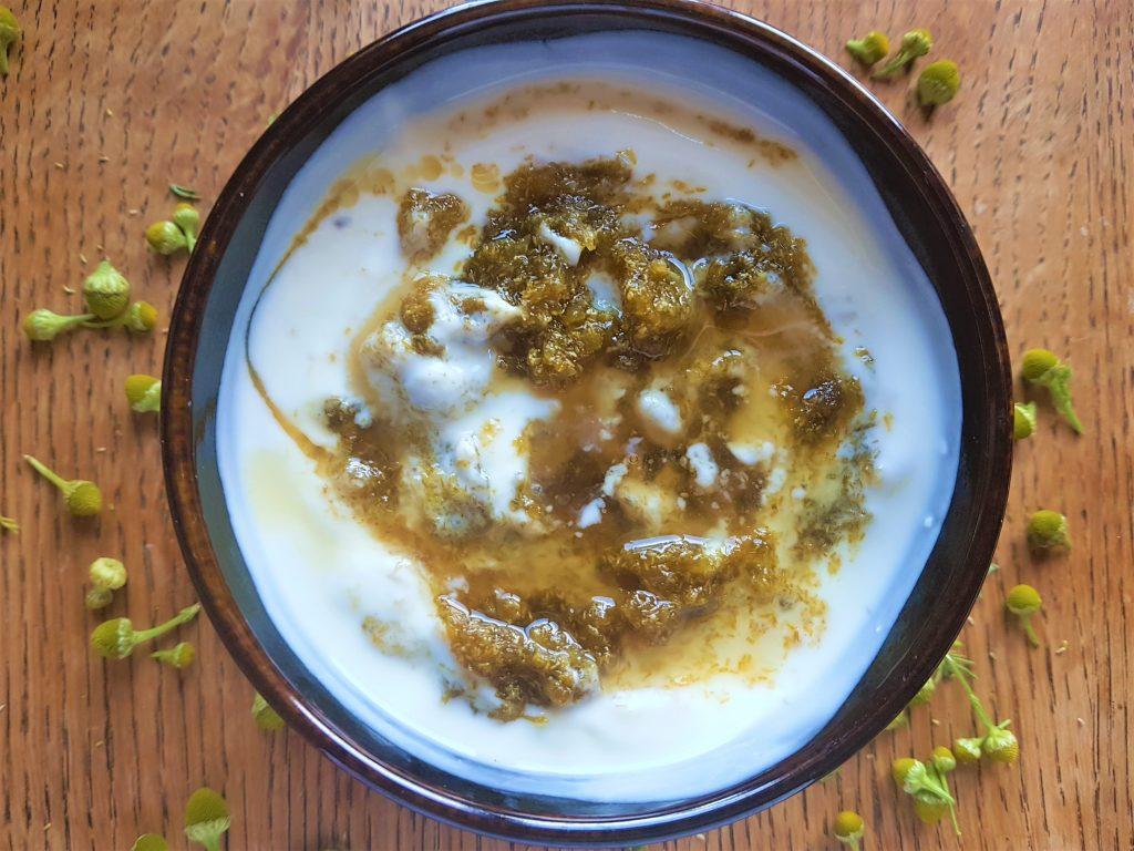 Pineapple weed and pineapple fruit jam swirled through yoghurt