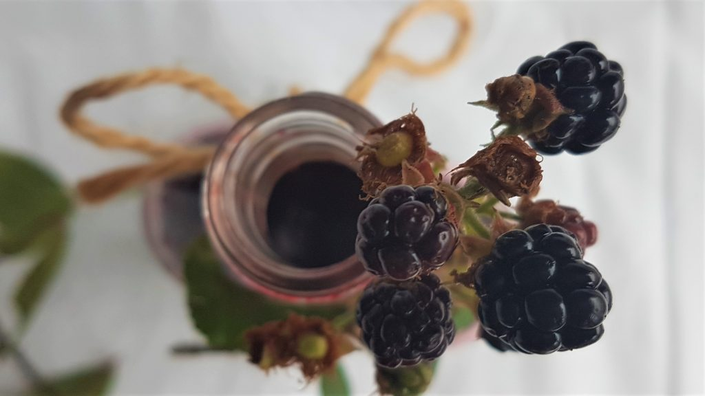 Bottle of blackberry syrup tied with string and fresh blackberries