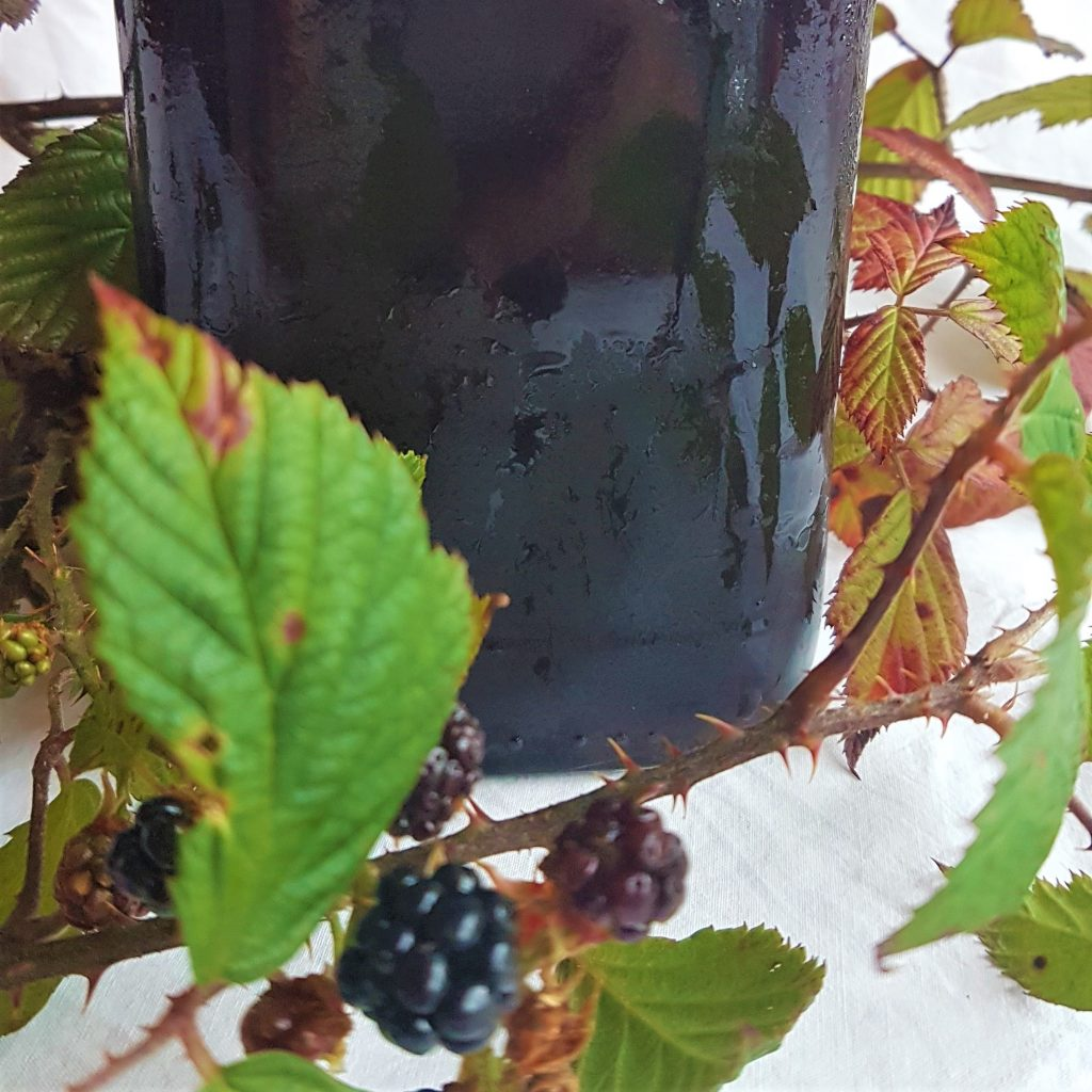 Details of blackberry syrup bottle