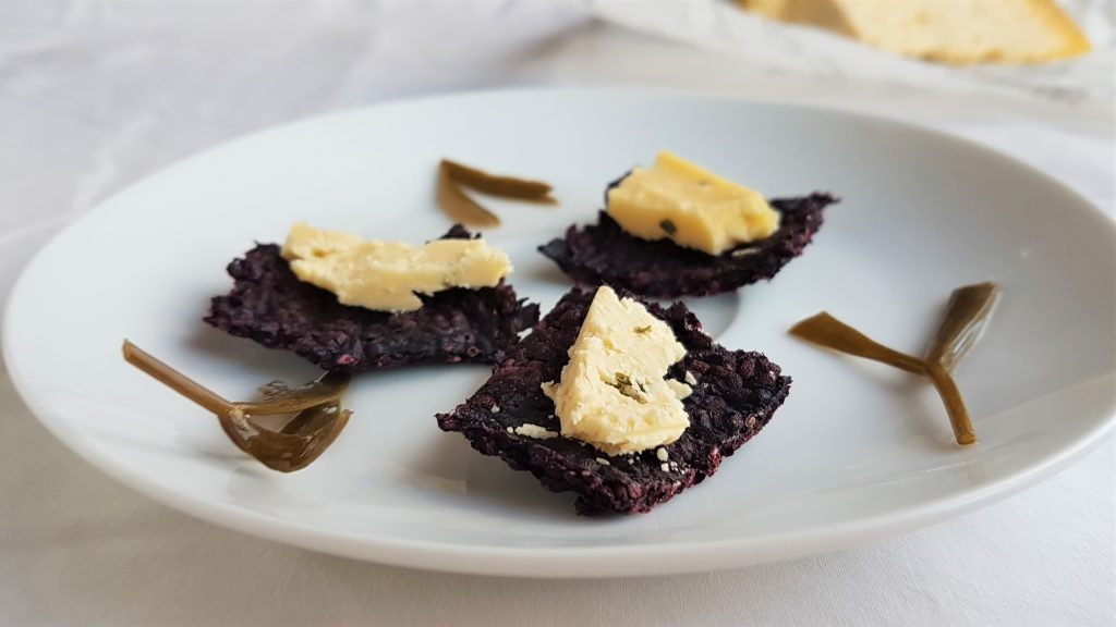 Paleo pure blackberry crackers with local Devonshire cheese