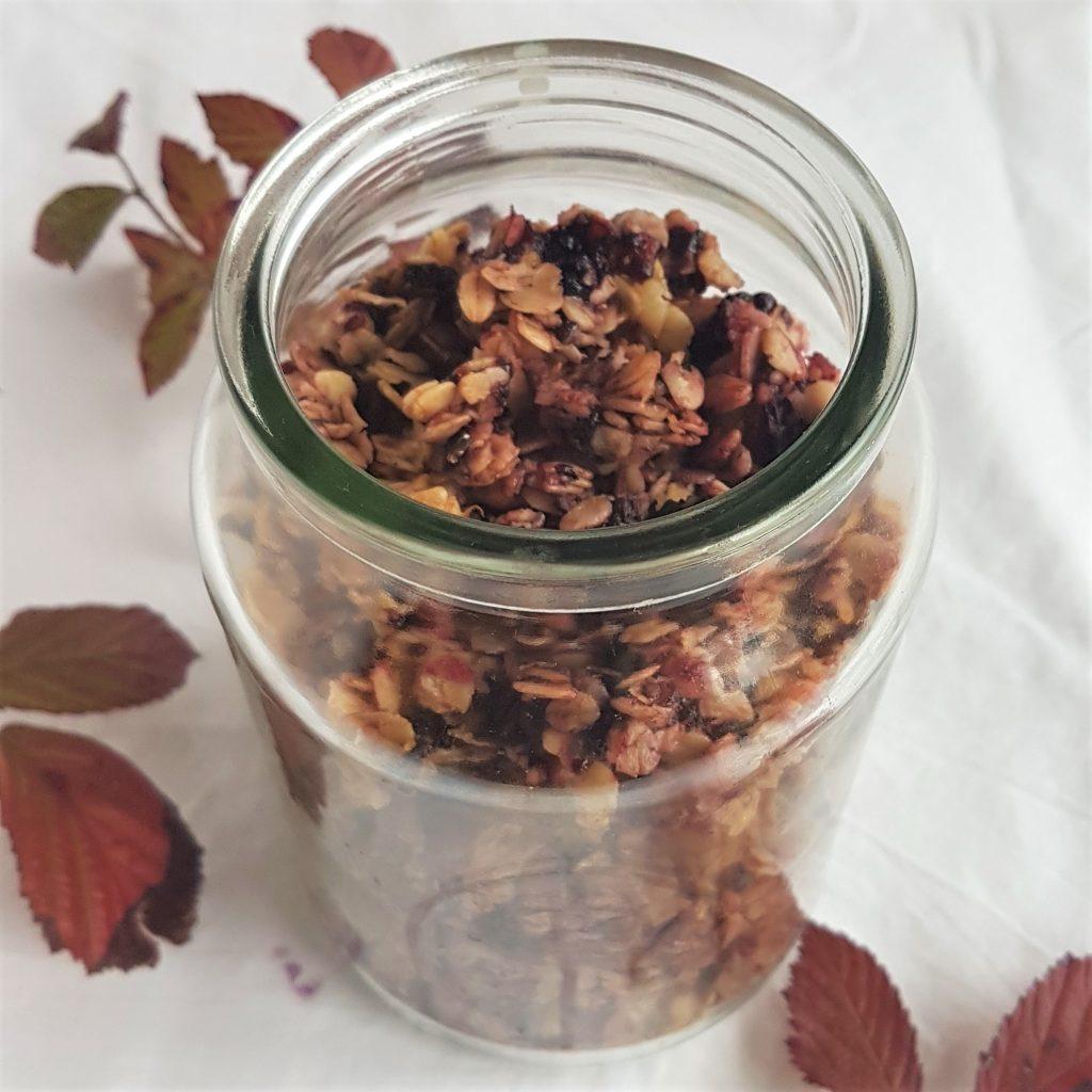 Open jar of wild blackberry granola recipe