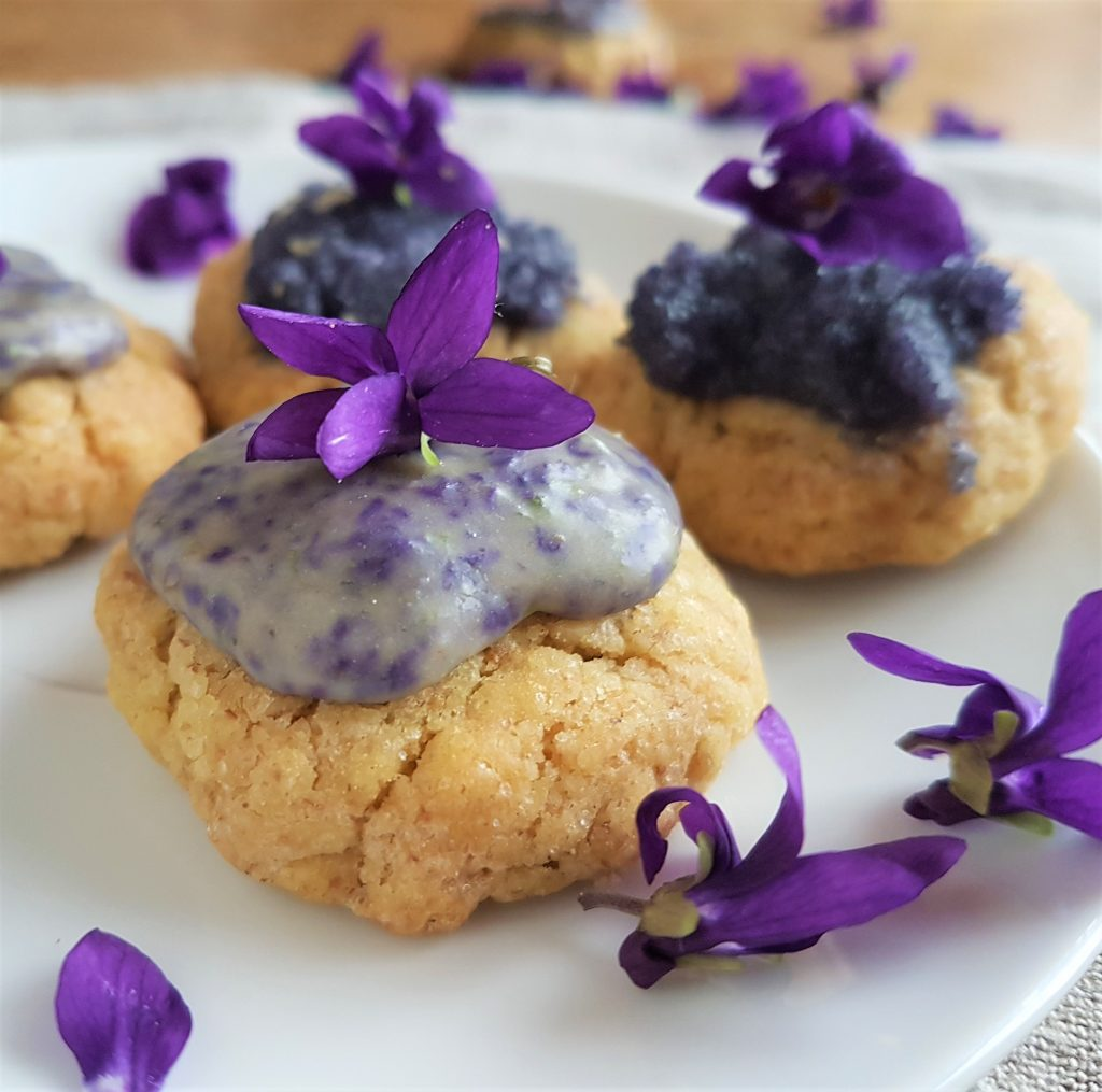 Homemade, foraged biscuits with violets