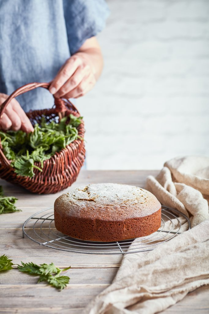 Freshly baked, homemade  wild nettle and honey cake