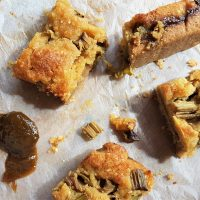 Slices of Japanese knotweed frangipane with ingredients from a foraging course