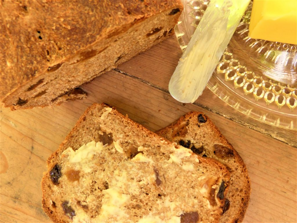 Homemade fruit bread with foraged elderflowers from a wild food foraging course